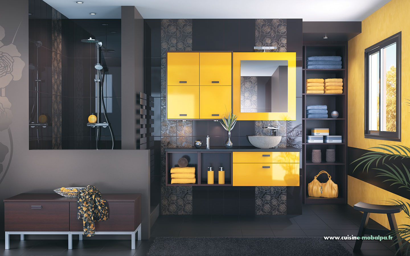 Salle de bains manae bouton d or brillant cuisiniste for Carrelage jaune moutarde